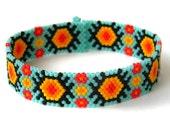 Colorful Beaded Bracelet, Turquoise Peyote Bracelet, Seed Bead Jewelry, Thin Bracelet
