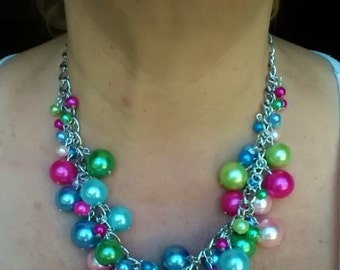 Pearl Cluster Necklace #1321
