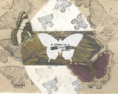 "Butterfly Handmade Notecard Butterfly ""A Dream is a Wish Your Heart Makes"" rich brown gold"