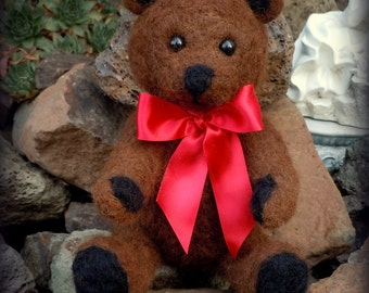 "10"" Brown Bear - Needle Felted Alpaca Fiber with Red Ribbon"