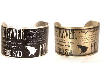 The Raven by Edgar Allan Poe Bracelet, Silver or Gold Cuff, Edgar Allan Poe, Literary Jewelry