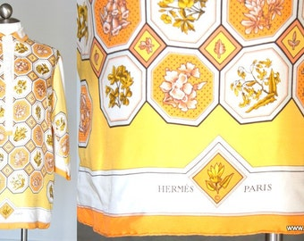 60s Vintage Hermes Scarf Tunic Blouse Top