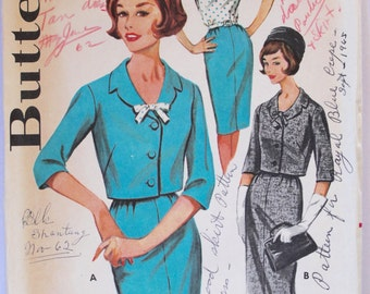 Vintage Sewing Pattern 1960s Women's Wiggle Dress with Bow and Jacket Size 16.5 Bust 37 Butterick 2176