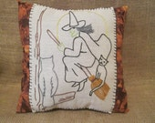 Hand Embroidered Halloween Pillow