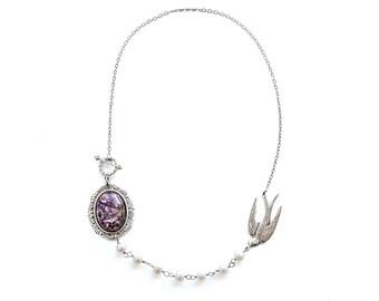 Wedding Jewelry Bridal Jewelry Bridesmaid Jewelry Statement Necklace Purple Amethyst Fire Opal Pearl Strand Silver Bird Necklace