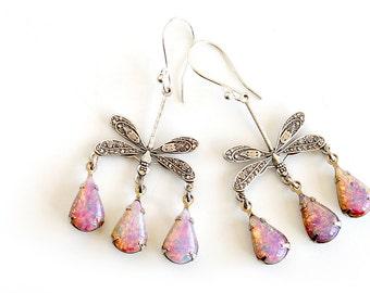 Fire Opal Earrings Vintage Pink Opal Drop Dangle Silver Chandelier Earrings Statement Earrings Tear Drop Earrings Dragonfly Lillian Jewelry