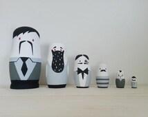 Russian Nesting Dolls // Nesting Dolls // 6 Piece Set // Dapper Gentlemen //  Hand Painted // Hand Carved // Simplistic // Home Decor //