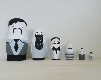 Russian Nesting Dolls // Nesting Dolls // 6 Piece Set // Dapper Gentlemen //  Hand Painted // Hand Carved // Simplistic // Home Decor //
