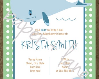 It's a boy baby shower invitation, digital, printable file 5 x 7, 4 x 6, whale theme, polka dots