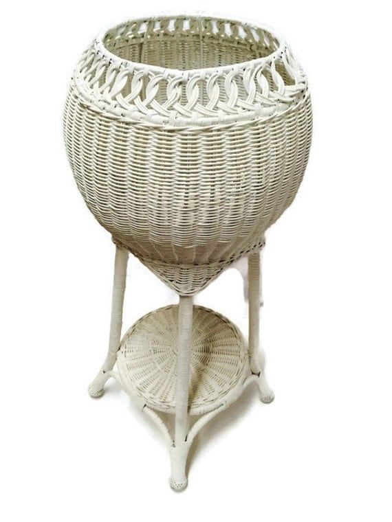 Vintage Two Tiered Plant Stand Wicker Globe Tall Shabby Chic