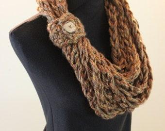 Barley Brown Crochet Bulky Fall Autumn Warm Acrylic Infinity Scarf