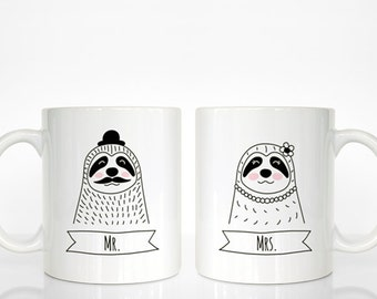 Set of 2 MR and MRS Mugs Set, Sloth Mugs, Mr and Mrs Gift, Couple Mugs, Wedding Gift for Couples Gift, Mr and Mrs Animal Mugs, Coffee Mugs