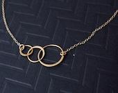 14k gold filled link necklace, triple link necklace