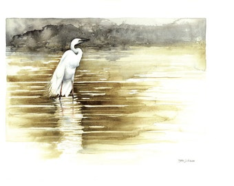 Eastern Great Egret Original Watercolour Painting