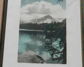 SALE Vintage Picture Stone Litho of Mountain Scene