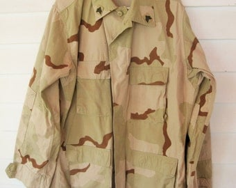 Desert Camouflage Jacket or Shirt - Size Large-Long With NATO Size - Four Pockets With Sergeant Stripes - Great Style - 100% Cotton