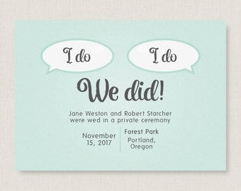 Elopement announcement. Elegant wedding announcement. Completely customizable and printable. #48