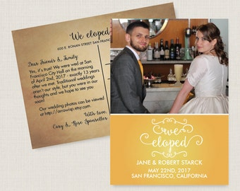 Elopement announcement. Modern wedding announcement, available as a postcard. Completely customizable and printable. #51