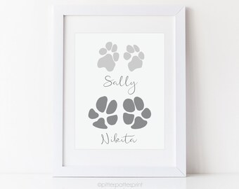 Pet Art, Your Dog's Paw Prints, Gift from Man's Best Friend, Personalized Animal Wall Decor, 5x7 or 8x10 inches UNFRAMED