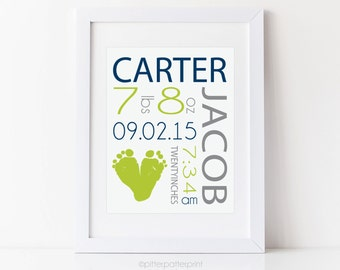 Navy & Lime Nursery Baby Boy Birth Announcement Wall Art, Blue Green Footprint Decor, Personalized with Your Child's Feet, 8x10 in UNFRAMED