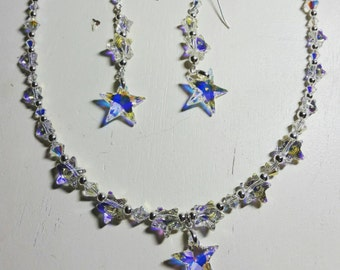 Star Necklace and Earring Set in Swarovski Crystal