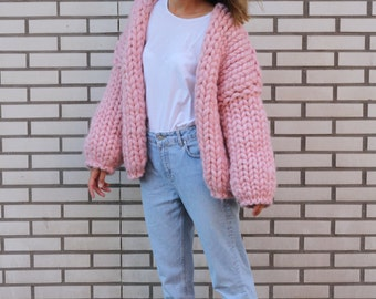 Super chunky merino wool cardigan, wool coat , wool sweater, pink sweater, girl gift, super warm, super soft, trend