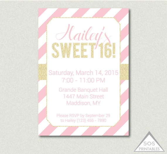 ... Invite, Sweet Sixteen Party, Printable Invitation, Digital Invitation: https://www.etsy.com/listing/246240805/light-pink-and-gold-sweet-16...