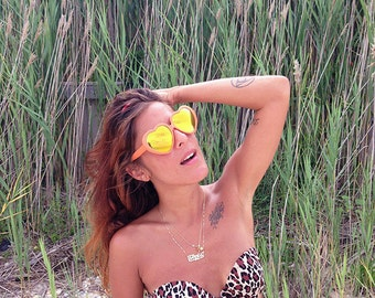 15% Off Lolita Heart Sunglasses Oversized Mirrored Rainbow Glasses - Lana