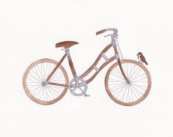 "brown bike and sparrow wall art 8""x10"" print"