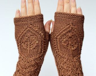 Hand Knitted Fingerless Gloves, Leaf, Brown, Gloves & Mittens,Gift Ideas,For Her, Accessories,READY TO SHIP