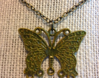 "18"" Bronzed/Yellow Butterfly Necklace"