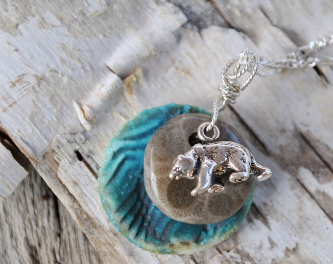 Petoskey Stone with teal ceramic pendant and bear charm, Michigan necklace, Up North