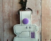 Sewing Machine Key Chain, White Vinyl with Gray and Lilac Embroidery and Lilac Snap, Made in USA, Sewing Key Fob