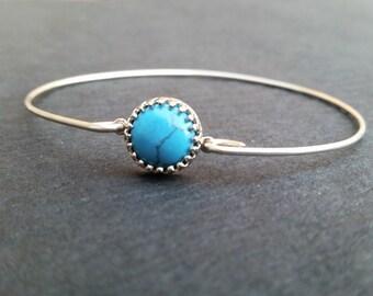 Sterling Silver & Turquoise Gemstone Bangle Bracelet   Turquoise Blue   Genuine Turquoise Jewelry   December Birthday   December Birthstone