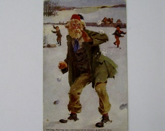 Vintage Post Card - Original Painting Copyrighted by Sydney Griffin - Snowball Fight - Used - 1905