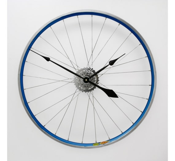 Large Wall Clock Bicycle Wheel Clock Bicycle by treadandpedals
