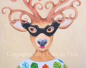 Deer Lady Masked, Original Acrylic Painting on canvas,Original & HandMade Acrylic painting, Modern Art, deer painting,oil, mixed