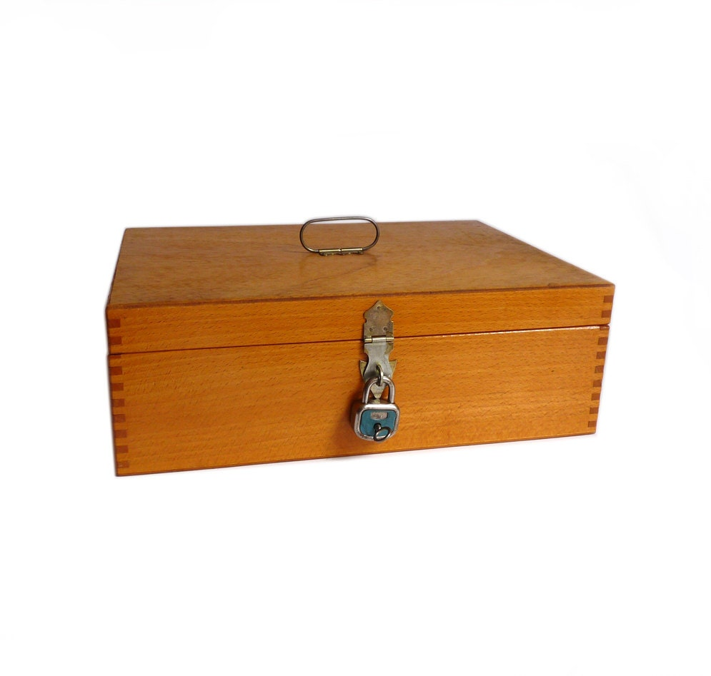 Wooden box with padlock desk organizer wood by - Desk organizer box ...