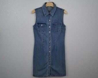 SALE! 90's Vintage Jeanology Collection Button Denim Dress
