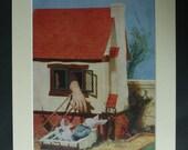 1950s Vintage Alice in Wonderland Print, White Rabbit Gift, Giant Girl Decor, Available Framed, Surreal Art, Book Wall Art, Girls Nursery