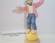 Vintage Emmett Kelly Jr. Flambro Hobo Clown Figurine Standing On Ball