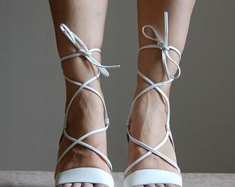 vintage 90s grecian lace white leather platform sandals