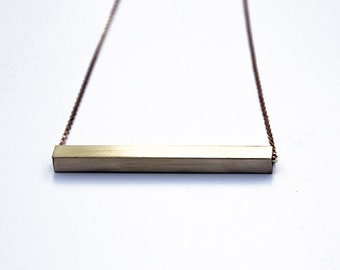 Brass bar necklace, gold bar necklace, bar necklace, brass necklace, minimalist necklace, gold necklace, brass bar, gold chain, gift for her