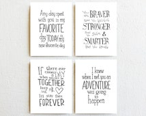Winnie the Pooh quote prints nursery decor, inspirational quote kids wall art, typography print poster set of 4, holiday kids gift baby gift