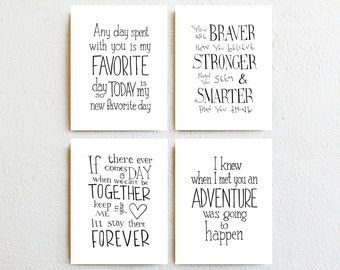 Winnie the Pooh quote prints - set of 4, inspirational typography art girl nursery decor, new baby children's birthday day gifts for kids
