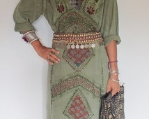 Beautiful Olive Green Indian Maxi Dress. Hand Sewn Silk Embroidery on Rayon Material. Only one in this color!