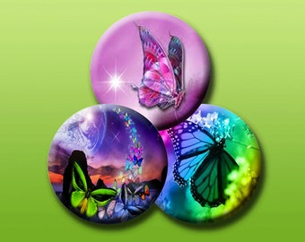 "BUTTERFLIES -  30 x 1"" size images for glass and resin pendants, bottle caps, round bezel trays, and much much more! Instant Download #14."