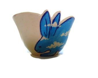Ceramic blue rabbit motif pottery small serving bowl -- Bunny rabbit with decorative free-form edge and clouds - baby shower gift