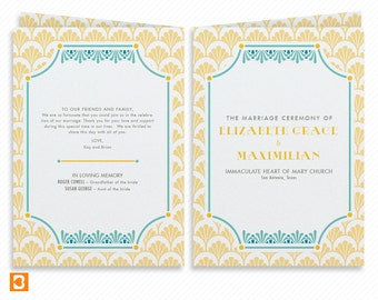 Art Deco Printable Wedding Program Booklet with Print-at-Home Thank You Card Print-ready Wedding Dinner Menu and Place cards
