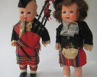 Pair of Vintage Scottish Dolls with Bagpipes